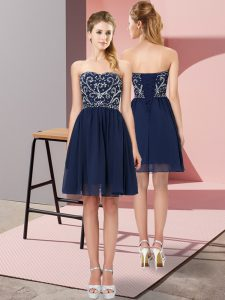Affordable Navy Blue Empire Sweetheart Sleeveless Chiffon Mini Length Lace Up Beading