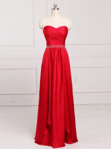 Custom Designed Sleeveless Floor Length Beading and Belt Zipper Quinceanera Court of Honor Dress with Red