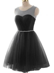 Stunning Mini Length A-line Sleeveless Black Homecoming Dress Lace Up