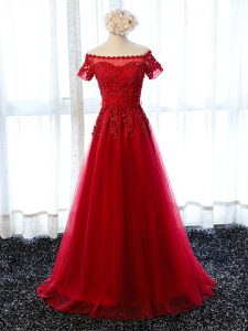 Spectacular Red Evening Dress Prom and Party with Lace and Appliques Off The Shoulder Short Sleeves Lace Up