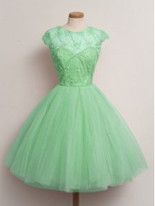 Comfortable Ball Gowns Dama Dress for Quinceanera Turquoise Scoop Tulle Cap Sleeves Knee Length Lace Up