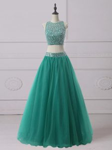 Sleeveless Tulle Floor Length Zipper Homecoming Dress in Green with Beading
