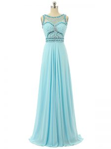 Scoop Sleeveless Prom Gown Floor Length Beading Aqua Blue Chiffon