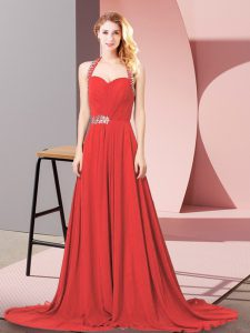 Fancy Sleeveless Beading and Ruching Zipper Evening Dress with Red Brush Train