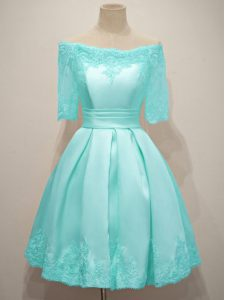 Beautiful Half Sleeves Lace Lace Up Vestidos de Damas