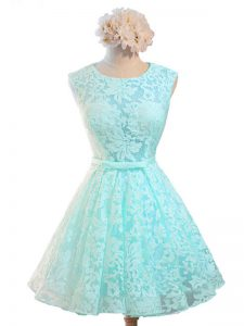 Aqua Blue Lace Up Vestidos de Damas Belt Sleeveless Knee Length