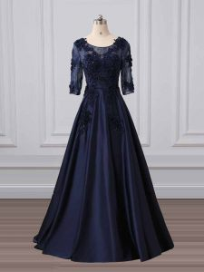 Eye-catching Navy Blue 3 4 Length Sleeve Brush Train Lace and Appliques Prom Evening Gown