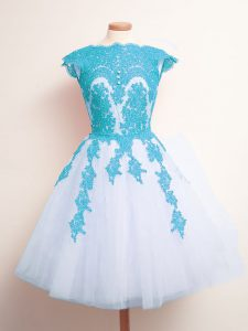 A-line Quinceanera Dama Dress Blue And White Scalloped Tulle Sleeveless Knee Length Lace Up