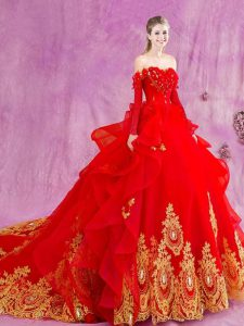 Red Tulle Lace Up Quinceanera Gowns Sleeveless Court Train Appliques and Ruffles