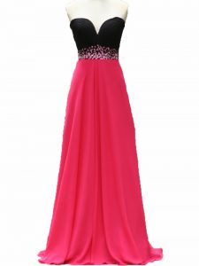 Beauteous Pink And Black Zipper Sweetheart Beading Prom Party Dress Taffeta Sleeveless