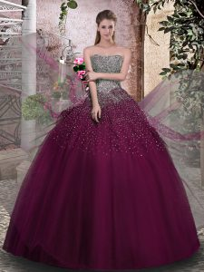 Stylish Beading Quinceanera Dress Purple Lace Up Sleeveless Floor Length