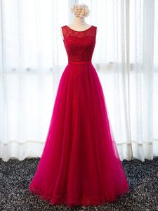Fuchsia Tulle Lace Up Scoop Sleeveless Floor Length Evening Dress Beading and Belt