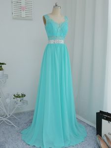 Edgy Aqua Blue Empire Scoop Sleeveless Chiffon Sweep Train Side Zipper Beading and Lace Quinceanera Court Dresses
