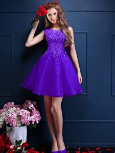 Purple Bateau Neckline Beading and Lace Dama Dress for Quinceanera Sleeveless Lace Up
