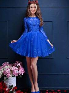 Custom Made Royal Blue 3 4 Length Sleeve Mini Length Beading and Lace and Appliques Lace Up Court Dresses for Sweet 16