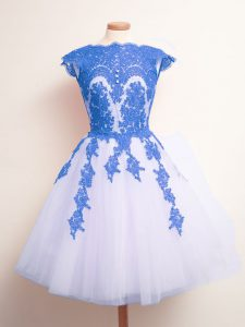 A-line Damas Dress Blue And White Scalloped Tulle Sleeveless Knee Length Lace Up