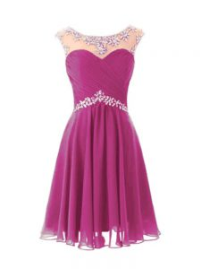 High End Cap Sleeves Knee Length Beading Zipper Homecoming Dress with Fuchsia
