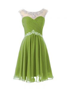 Olive Green A-line Chiffon Scoop Cap Sleeves Beading Knee Length Zipper Prom Gown