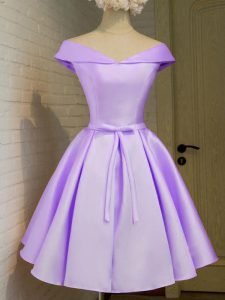 Comfortable Cap Sleeves Taffeta Knee Length Lace Up Quinceanera Dama Dress in Lavender with Belt