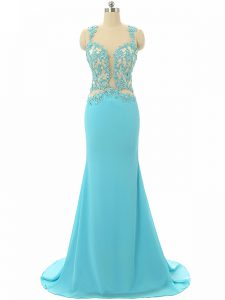 Aqua Blue Sleeveless Chiffon Brush Train Backless Prom Gown for Prom and Military Ball and Sweet 16