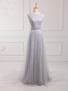 Grey Zipper Scoop Beading and Lace Quinceanera Court Dresses Tulle and Lace Sleeveless Brush Train