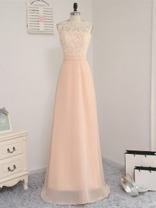 Hot Sale Empire Quinceanera Dama Dress Peach Bateau Chiffon Sleeveless Floor Length Backless