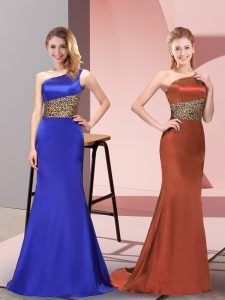 Royal Blue One Shoulder Side Zipper Pattern Prom Dresses Sleeveless
