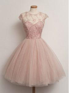 Fine Peach Cap Sleeves Tulle Lace Up Court Dresses for Sweet 16 for Prom and Party and Wedding Party