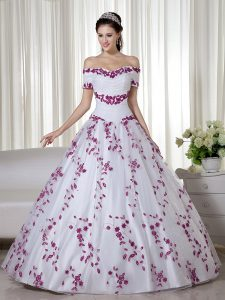 Luxury Floor Length White Sweet 16 Quinceanera Dress Organza Short Sleeves Embroidery