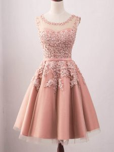 On Sale A-line Quinceanera Dama Dress Pink Scoop Tulle Sleeveless Knee Length Lace Up
