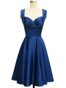 Free and Easy Royal Blue Lace Up Straps Ruching Quinceanera Dama Dress Taffeta Sleeveless
