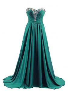 Dramatic Lace Up Prom Dresses Turquoise for Prom and Party and Beach with Beading Brush Train