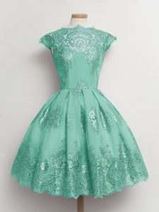 New Arrival Turquoise Cap Sleeves Tulle Lace Up Dama Dress for Prom and Party and Wedding Party