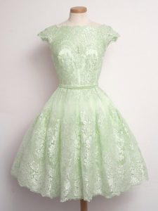 Latest Knee Length Yellow Green Dama Dress for Quinceanera Scalloped Cap Sleeves Lace Up