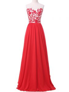Flirting Chiffon Sweetheart Sleeveless Lace Up Lace and Appliques in Red