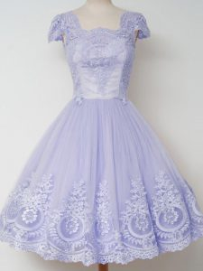 Modern Cap Sleeves Knee Length Lace Zipper Dama Dress with Lavender
