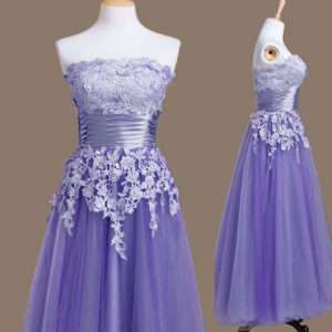 Best Selling Lavender Sleeveless Tea Length Appliques Lace Up Quinceanera Court of Honor Dress
