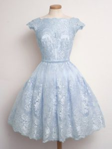 Light Blue Quinceanera Court of Honor Dress Prom and Party and Wedding Party with Lace Scalloped Cap Sleeves Lace Up