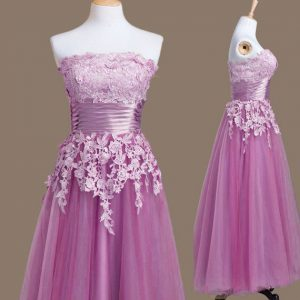 Tea Length Lilac Court Dresses for Sweet 16 Tulle Sleeveless Appliques