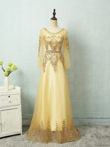 Modest Beading and Appliques and Belt Homecoming Dress Yellow Zipper Long Sleeves Floor Length