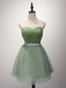 Tulle Sweetheart Sleeveless Lace Up Beading and Ruching Quinceanera Dama Dress in Green