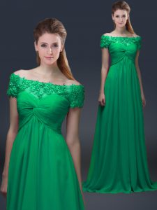 Adorable Green Short Sleeves Chiffon Lace Up for Prom and Party