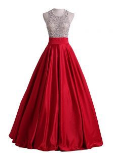 Satin Scoop Sleeveless Backless Beading Prom Gown in Red