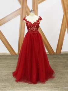Graceful Red Tulle Criss Cross Sleeveless Floor Length Lace and Appliques