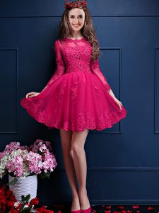 Fantastic Mini Length Hot Pink Dama Dress Scalloped 3 4 Length Sleeve Lace Up