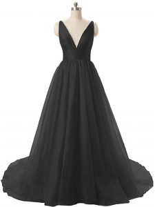 Black A-line Ruching Evening Dress Backless Organza Sleeveless