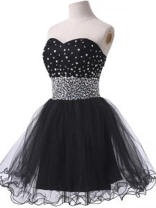 Romantic Black Sleeveless Tulle Lace Up Prom Gown for Prom and Party and Sweet 16
