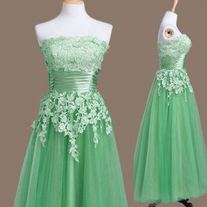 Trendy Green Sleeveless Tulle Lace Up Vestidos de Damas for Prom and Party and Wedding Party