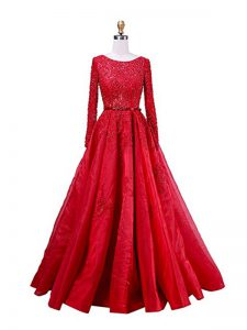 Red Scoop Zipper Beading and Lace Evening Dress Brush Train Long Sleeves