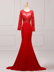 Fitting Scoop Long Sleeves Chiffon Prom Evening Gown Lace and Appliques Brush Train Zipper